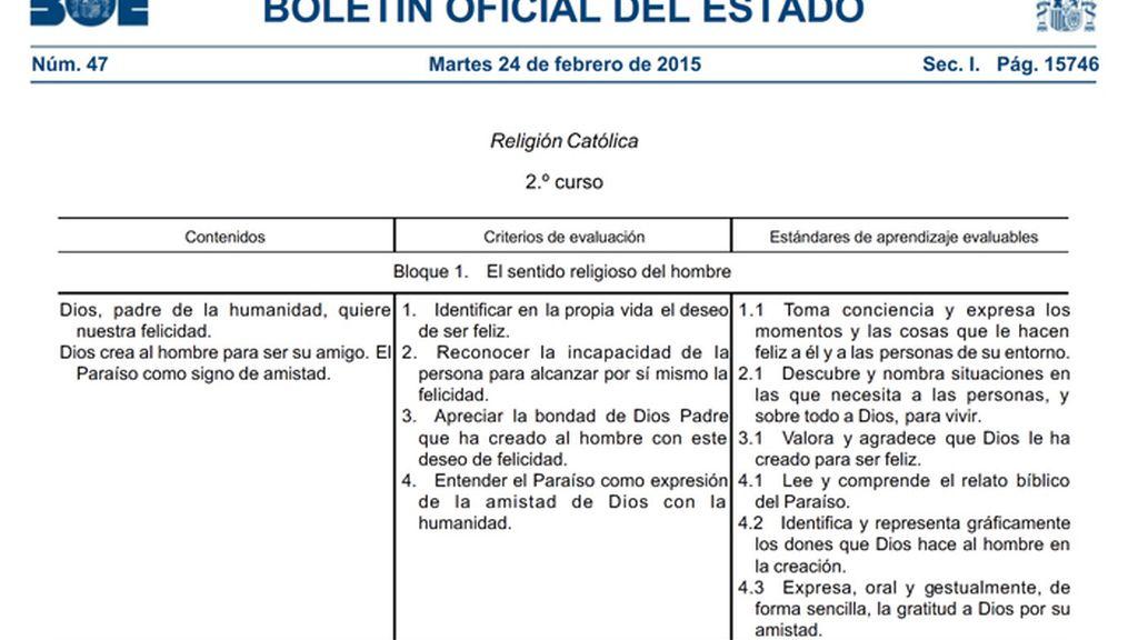 El BOE publica la reforma de la clase de religión