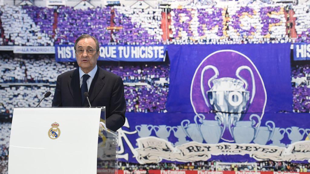 Florentino Pérez en la presentación de Rafa Benítez