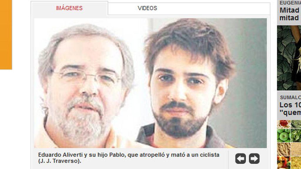 El periodista argentino Eduardo Aliverti con su hijo Pablo