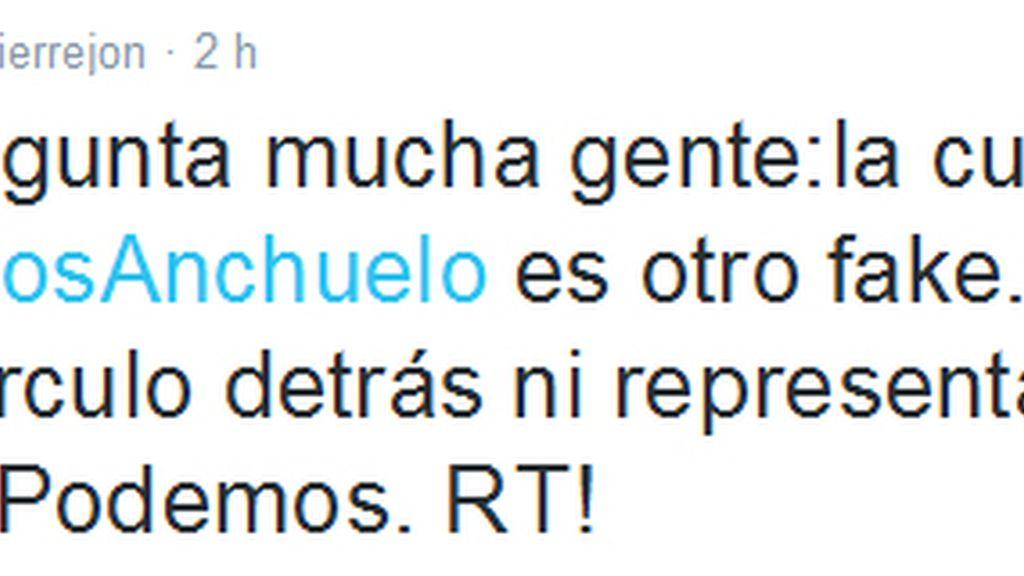 Errejón desmiente en Twitter los mensajes vertidos por el Círculo de Podemos de Anchuelo