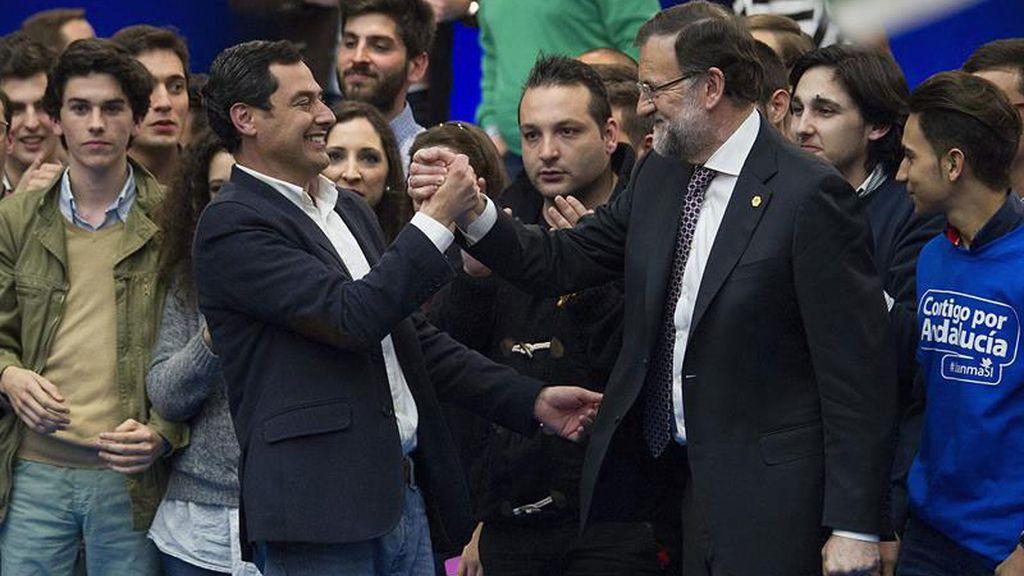 Rajoy y Moreno en el mitin de clausura de la campaña electoral andaluza