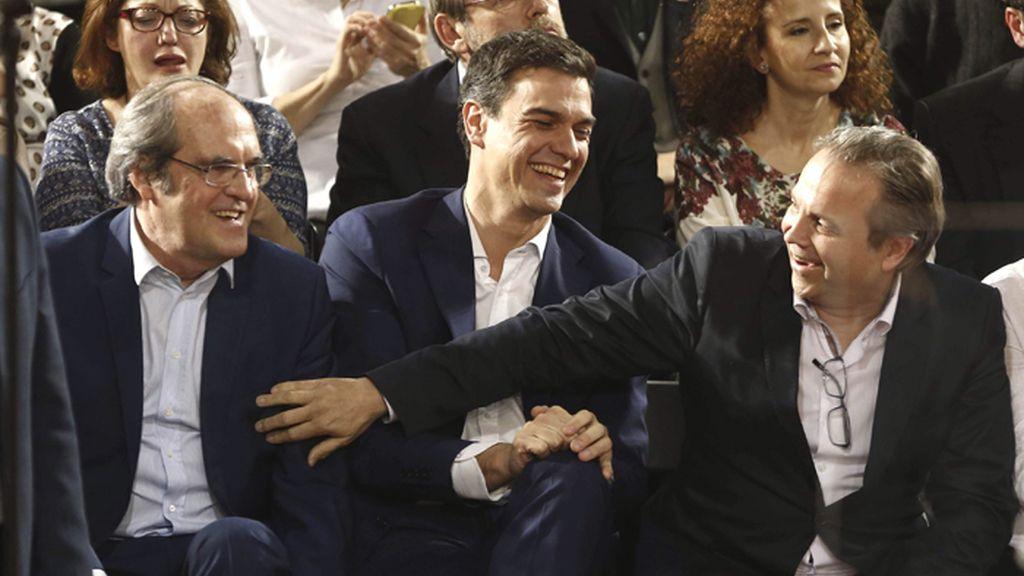 Ángel Gabilondo, Pedro Sánchez y Miguel Ángel Carmona