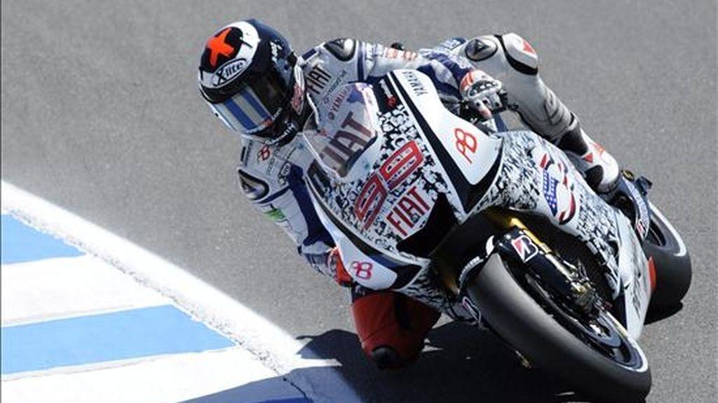 El motociclista español Jorge Lorenzo, ayer durante la práctica libre del circuito de Laguna Seca en Monterrey, California (EE.UU.). EFE