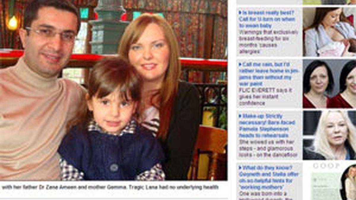 Lana con sus padres. Foto: Dailymail.co.uk