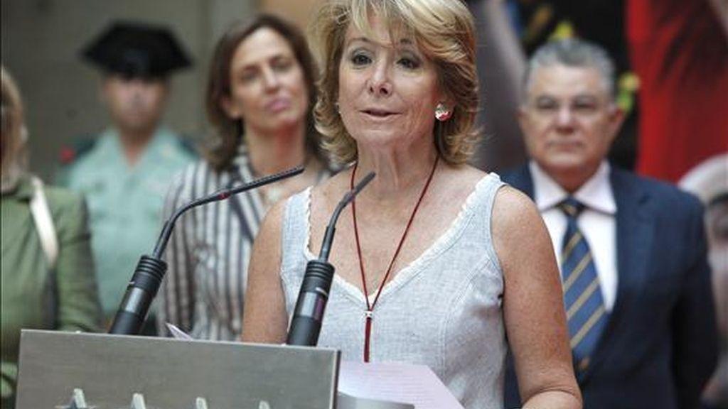 La presidenta de la Comunidad de Madrid, Esperanza Aguirre durante el acto. EFE/Archivo