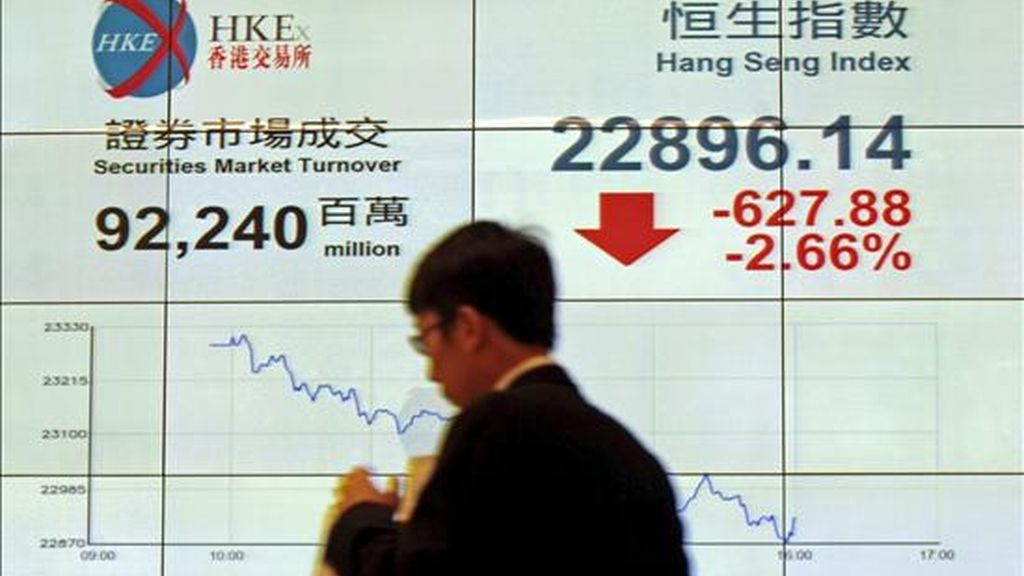 Un viandante pasa delante de una pantalla que muestra el valor de cierre del índice Hang Seng de la Bolsa de Hong Kong. EFE/Archivo