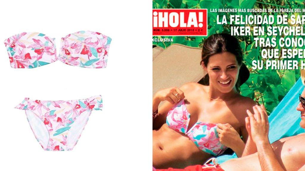 Sara Carbonero luciendo tipazo con bikini floral de Women's Secret