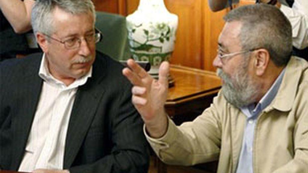 Los secretarios generales de CCOO y UGT, en conversaciones. Vídeo: Informativos Telecinco.