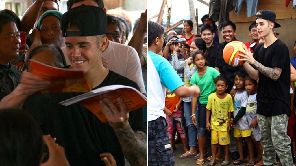 Justin Bieber convive con las víctimas del tifón en Filipinas