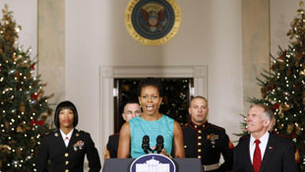 Michelle Obama durante el acto oficial de la presentación de la decoración navideña de la Casa Blanca. Foto: Reuters.