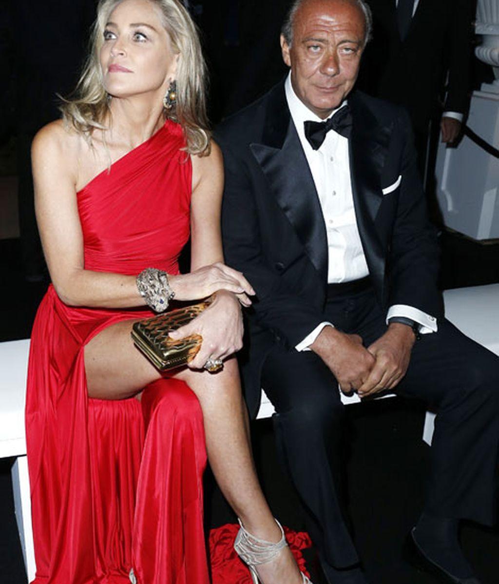 Sharon Stone y Fawaz Gruosi en la fiesta de Grisogono