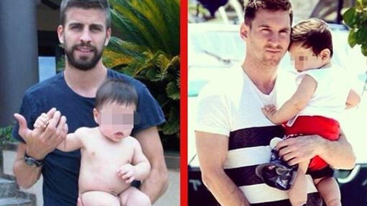 Leo Messi y Gerard Piqué, se llevan de vacaciones a Thiago y Milan