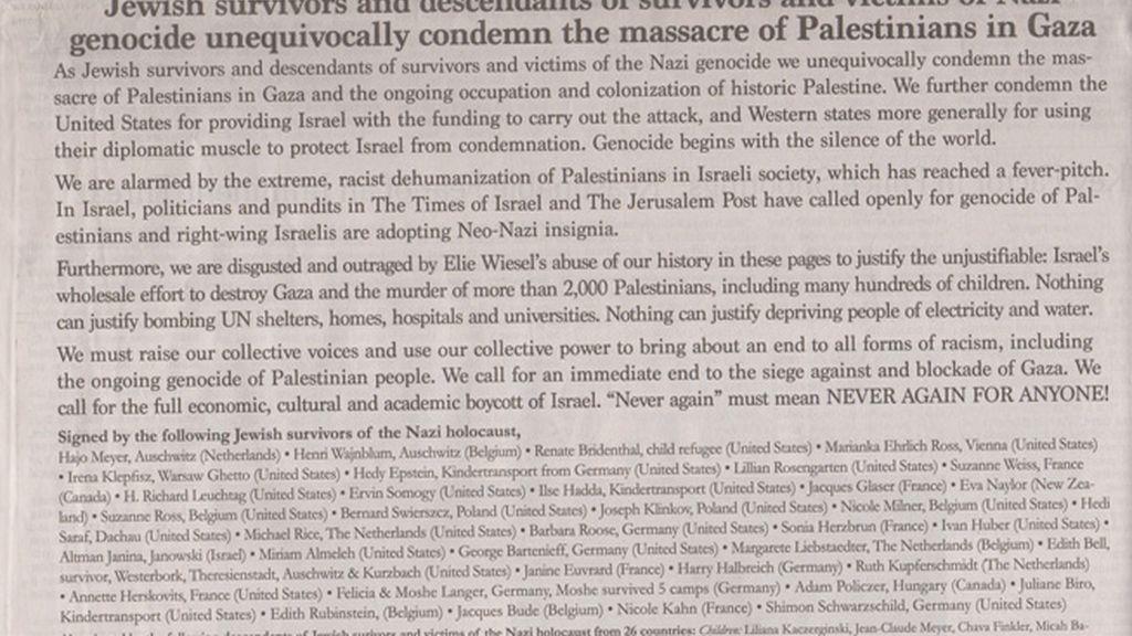 """Supervivientes del Holocausto condenan """"la masacre de palestinos en Gaza"""""""