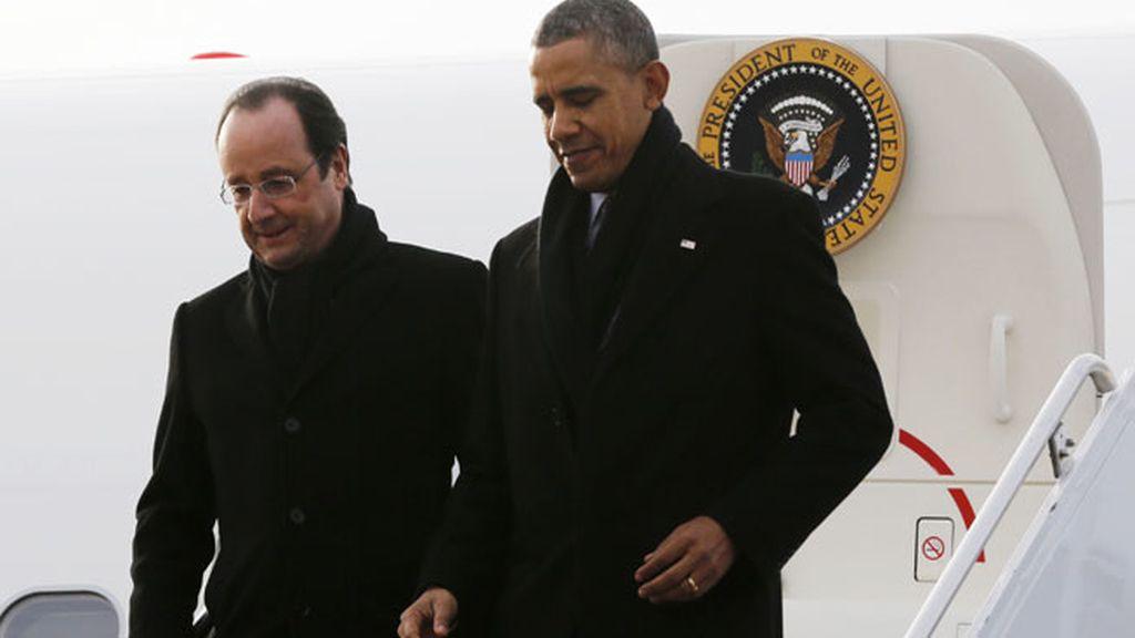 Barack Obama y François Hollande en la visita oficial del presidente francés a EEUU