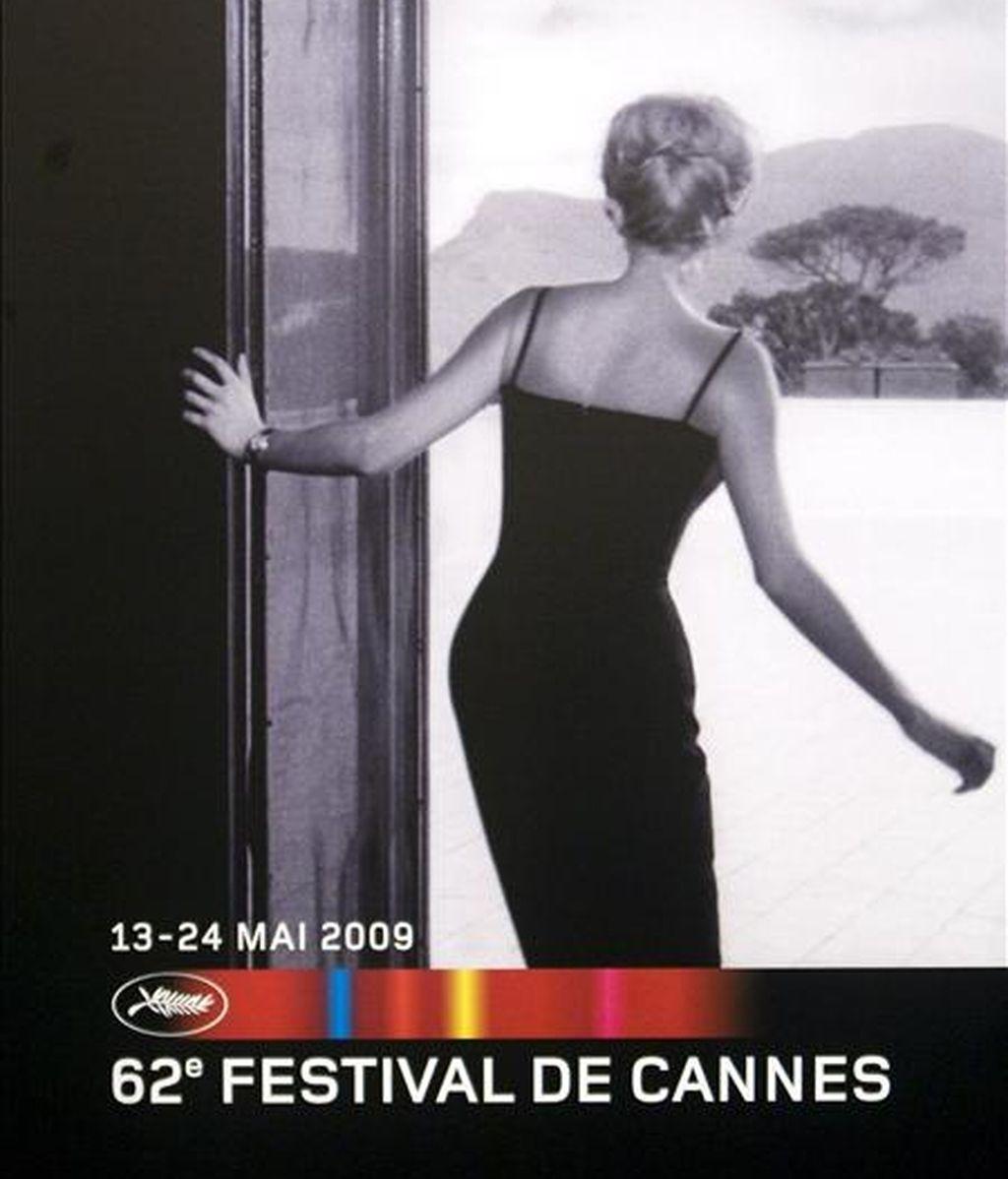 Vista del cartel de la 62ª edición del festival de cine de Cannes, que fue presentado ayer, en París (Francia). La actriz francesa Isabelle Huppert presidirá el jurado de la presente edición, que se celebrará del 13 al 24 de mayo. EFE