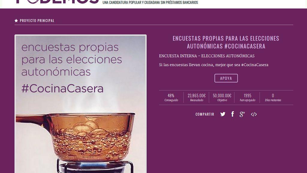 Web de micromecenazgo de Podemos
