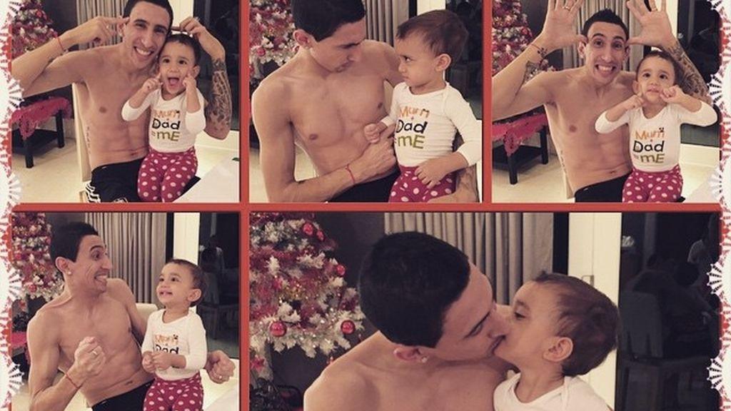 Di María con su hija pequeña en vísperas de Navidad