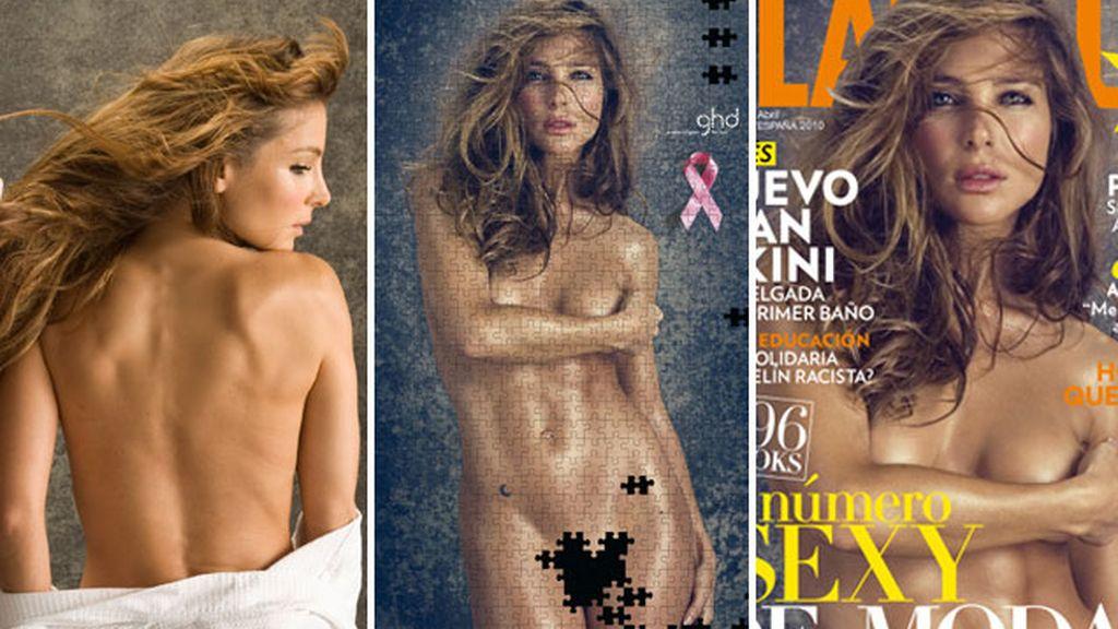 Elsa Pataky en el 'making off', el puzzle solidario y en la portada de la revista 'Glamour'. Foto: Jaume de Laiguana.
