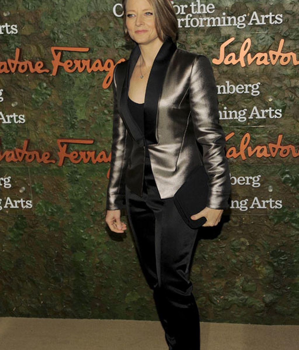 Jodie Foster, con un traje en tonos metalizados