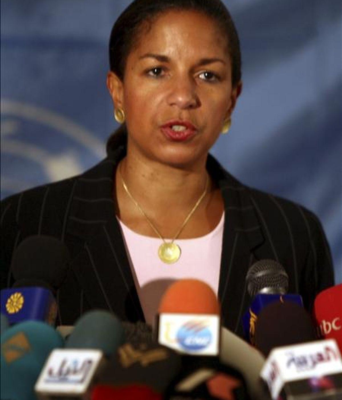 """""""Los miembros del Consejo de Seguridad están unidos y subrayan la necesidad de que Irán cumpla con sus obligaciones internacionales. Hoy hemos oído cómo Irán sigue violando resoluciones importantes"""", explicó la embajadora de EE.UU. ante la ONU, Susan Rice. EFE/Archivo"""