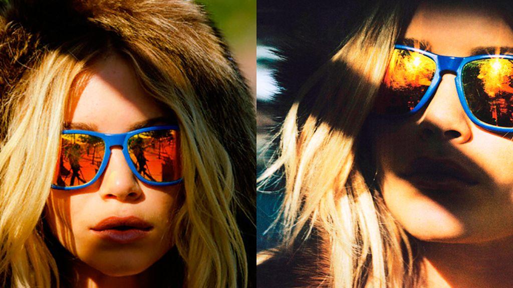 La gemela Olsen combina los dos colores de moda: naranja y azul eléctrico