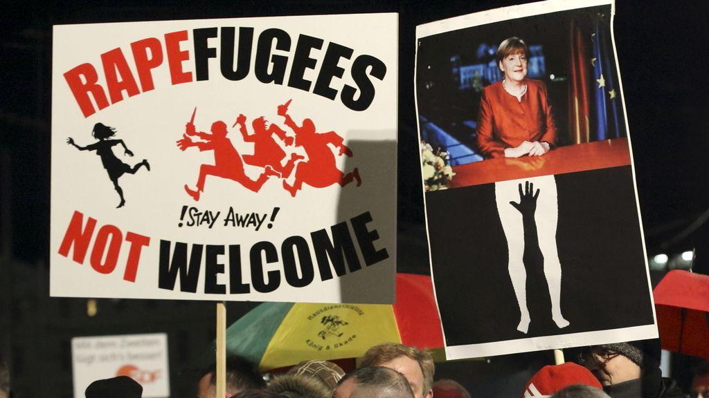Integrantes del grupo antiinmigración alemán Pegida