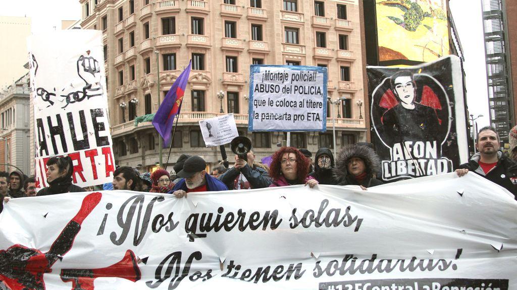 Manifestación en Madrid en apoyo a los titiriteros