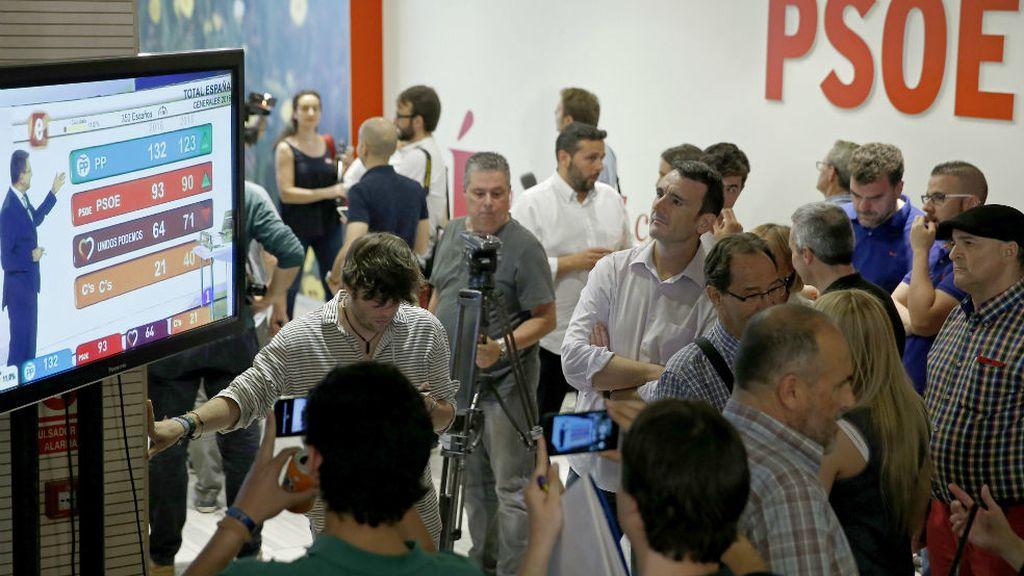 Ambiente en la sede del PSOE