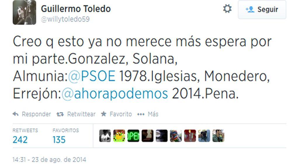 """Willy Toledo reniega de Podemos por su """"discurso vacío de contenido"""" y el """"cinismo"""" de sus líderes"""