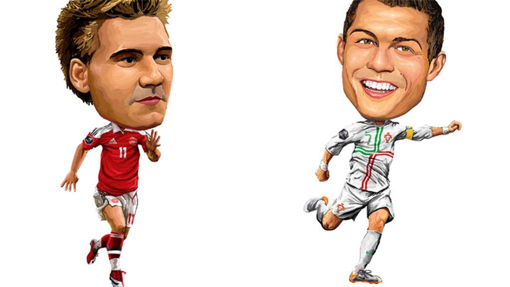 Bendtner (Dinamarca) y Cristiano Ronaldo (Portugal)