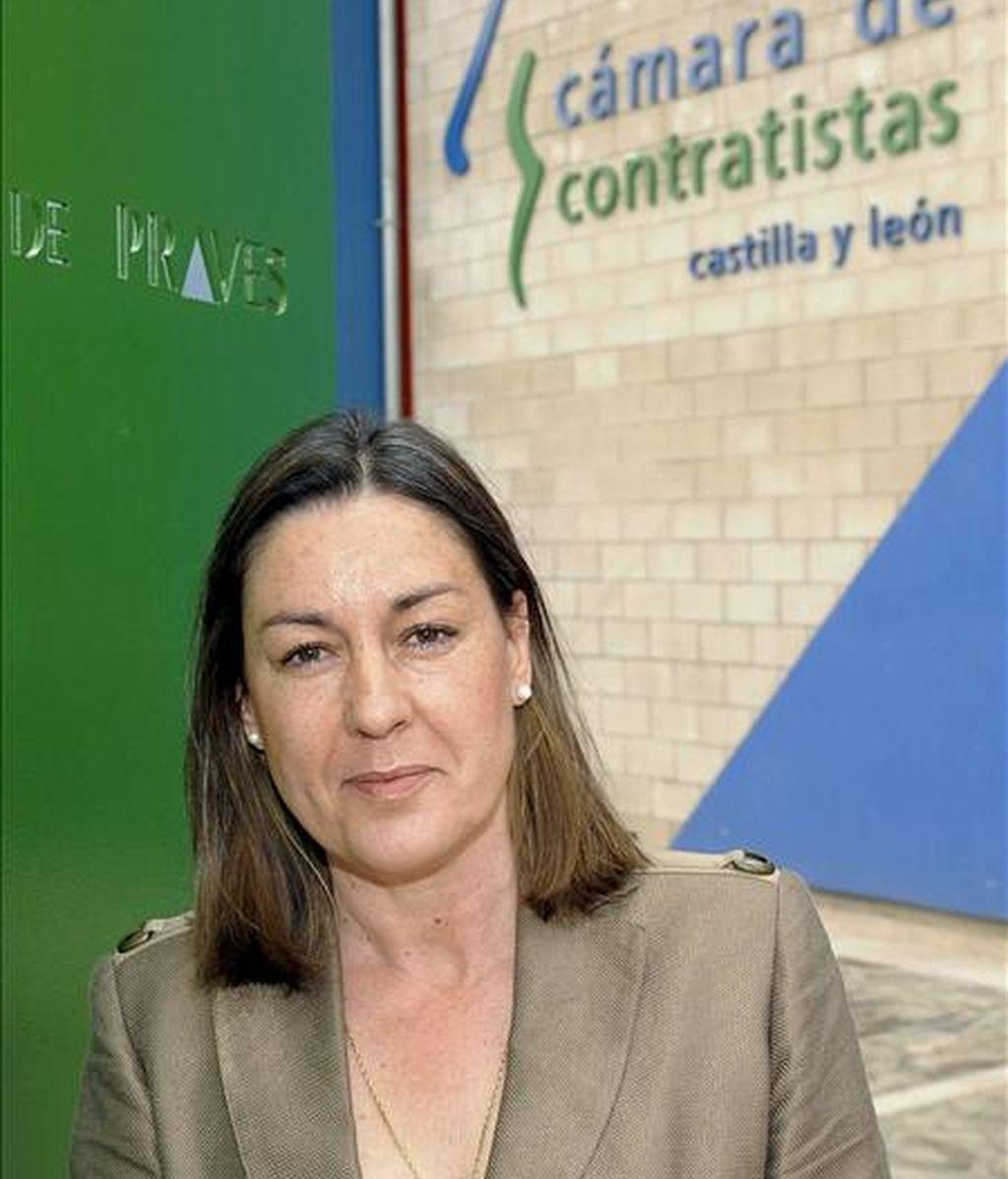 """La presidenta de la Cámara de Contratistas de Castilla y León, Isabel de Blas, durante la entrevista con EFE, en la que ha asegurado que """"el empleo se va a mantener"""" en 2009 en el sector de la obra pública en la Comunidad. EFE"""