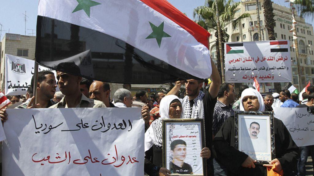 Manifestación en Palestina contra la intervención militar de EEUU en Siria