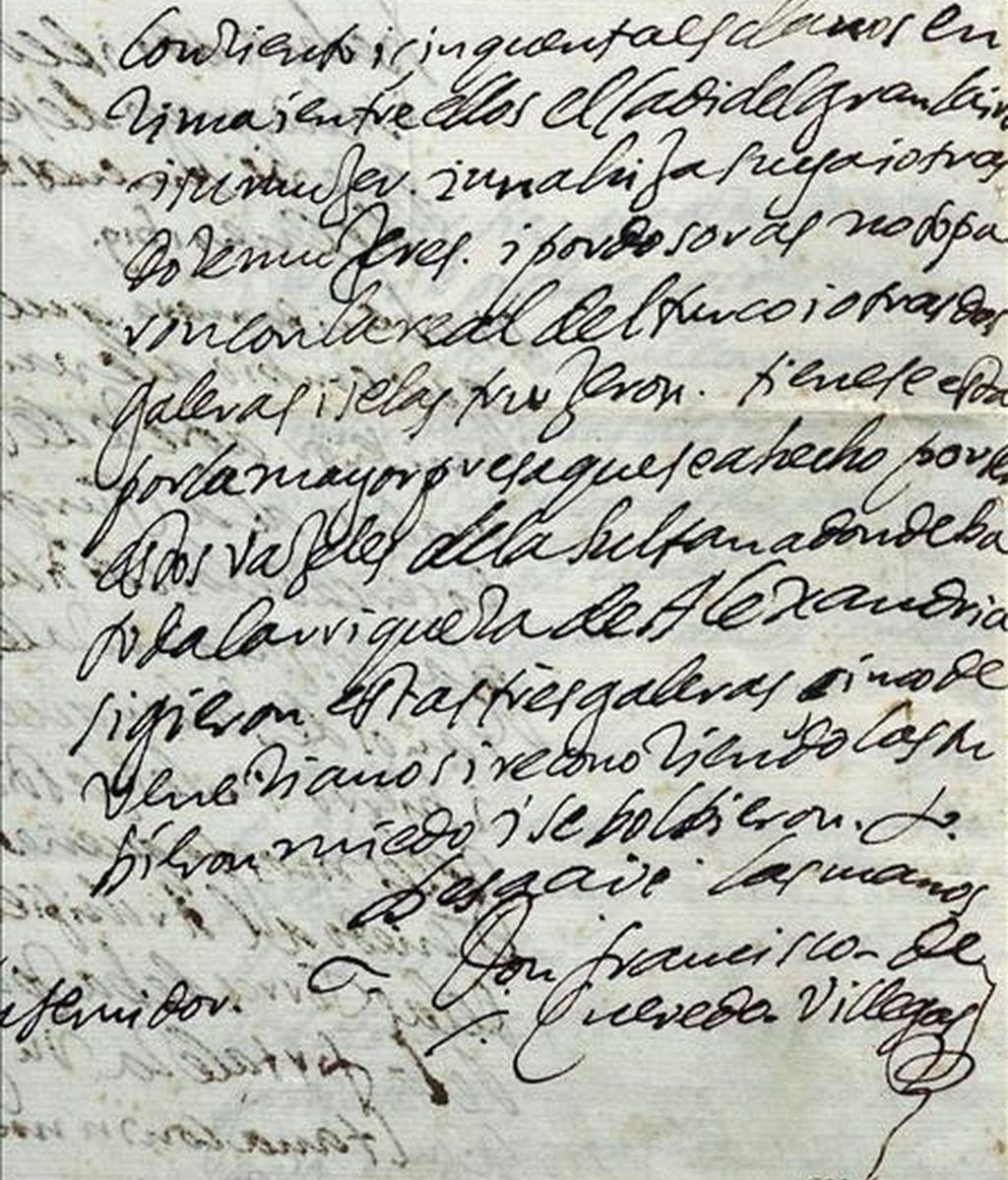Carta autógrafa de Francisco de Quevedo y Villegas al Marqués de Caracena, fechada en 1619. EFE/Archivo
