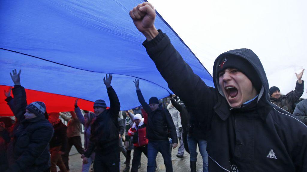Manifestación pro-rusa en Crimea (Ucrania)