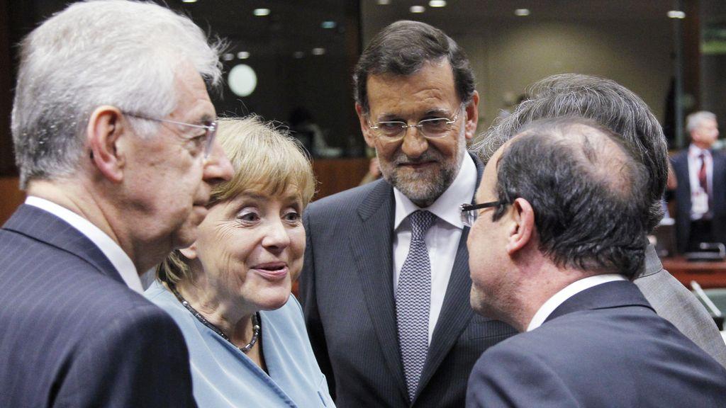 Monti, Merkel, Rajoy y Hollande