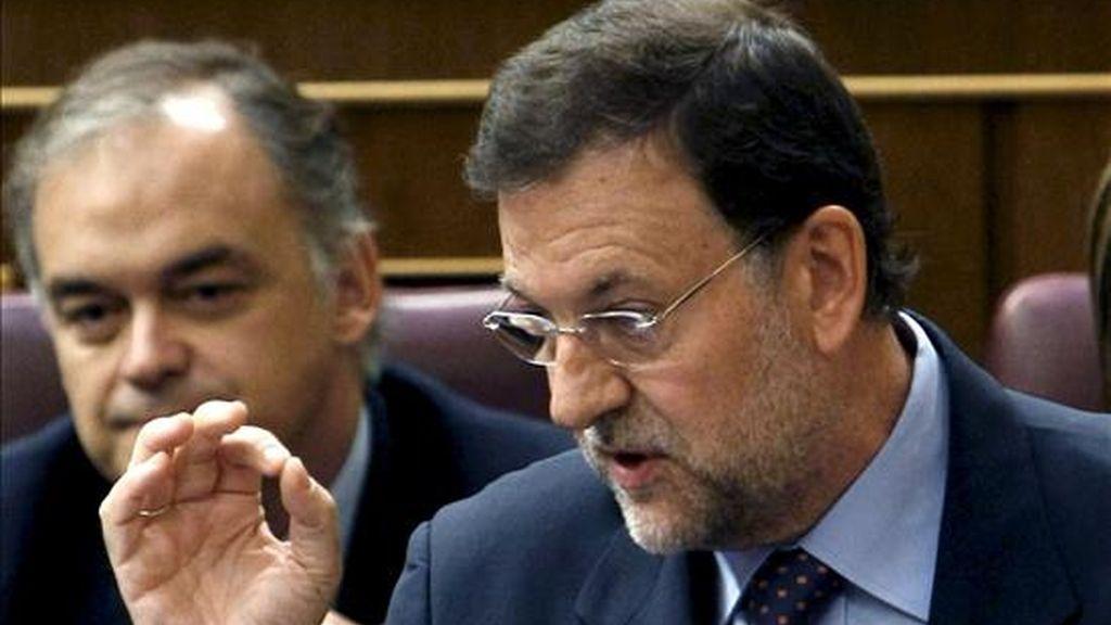 El líder del PP, Mariano Rajoy, durante su intervención en la sesión de control al Gobierno del pleno del Congreso de los Diputados. EFE/Archivo