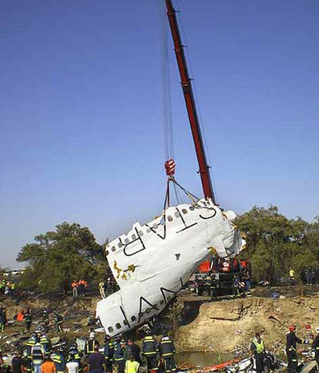 Estado del avión tras el accidente. EFE