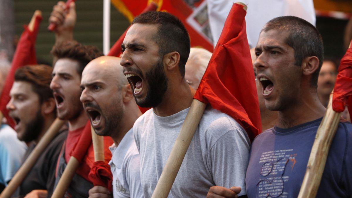 Manifestación en Tesalónica, Grecia, por la visita de la troika. Foto: Reuters