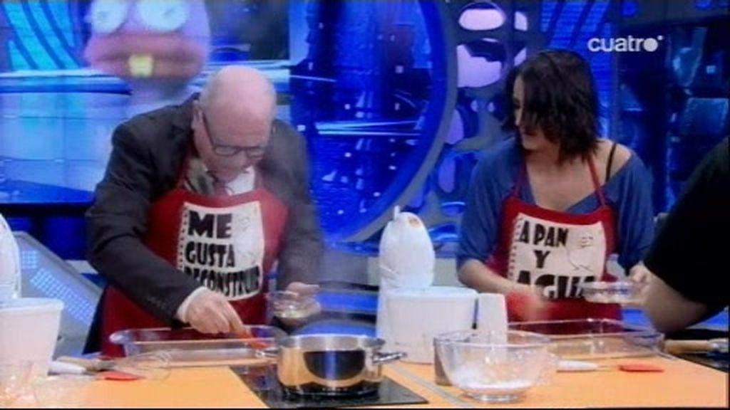 Silvia Abril trata de hacer nubes dulces a Leo Bassi