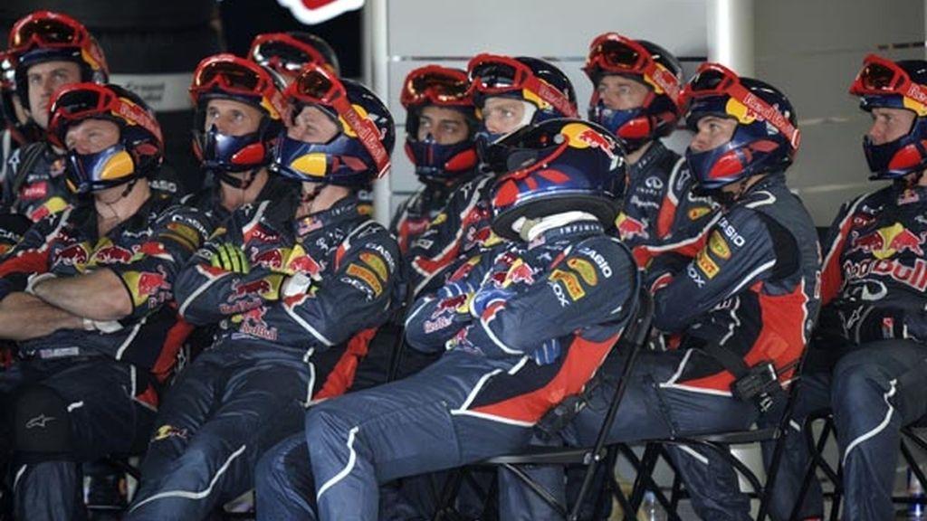 Equipo Red Bull durante la carrera