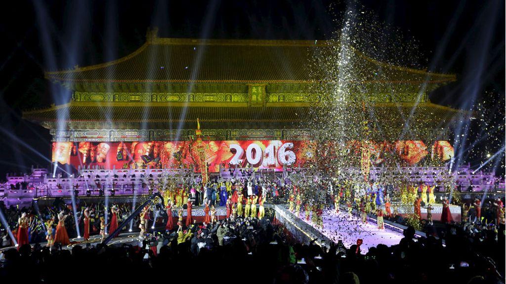 El Templo de la Ciudad Prohibida celebra la entrada del 2016, Beijing