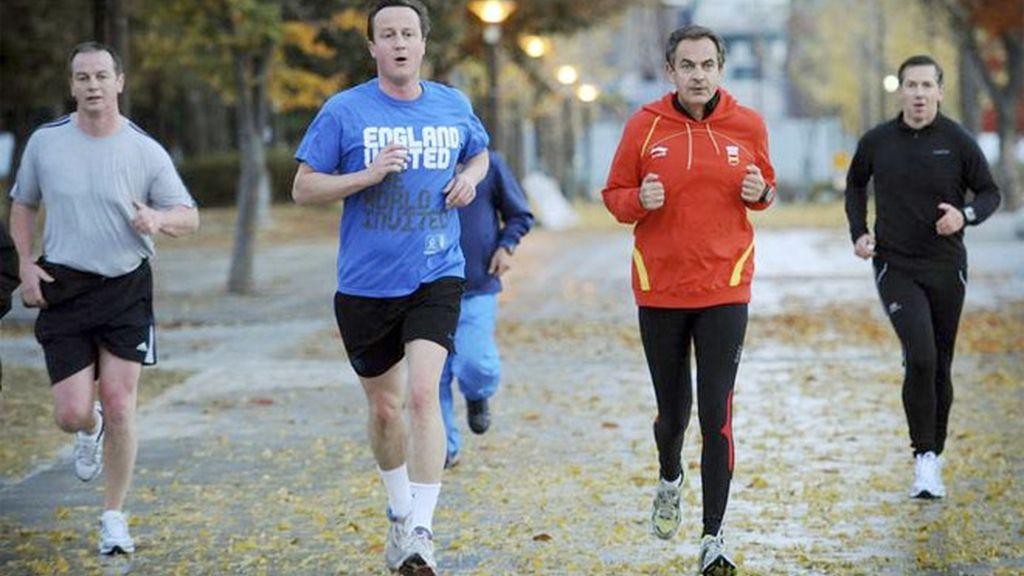 Zapatero y Cameron dos cuerpos, dos maneras de correr