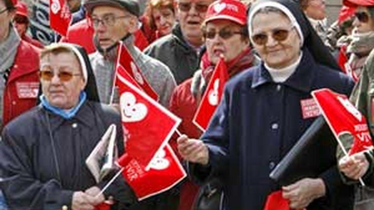 Manifestantes en otra manifestación contra el aborto. Foto: EFE