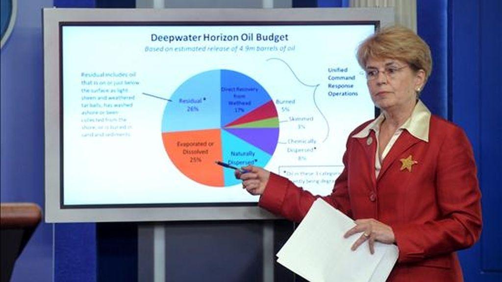 La directora de la Agencia Nacional Oceánica y Atmosférica de EE.UU. (NOAA), Jane Lubchenco,  informa sobre la marcha de la operación de sellado definitivo de su pozo averiado en el Golfo de México. EFE