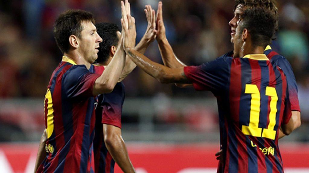 Neymar se estrena en la goleada del Barcelona (1-7) ante la selección de Tailandia