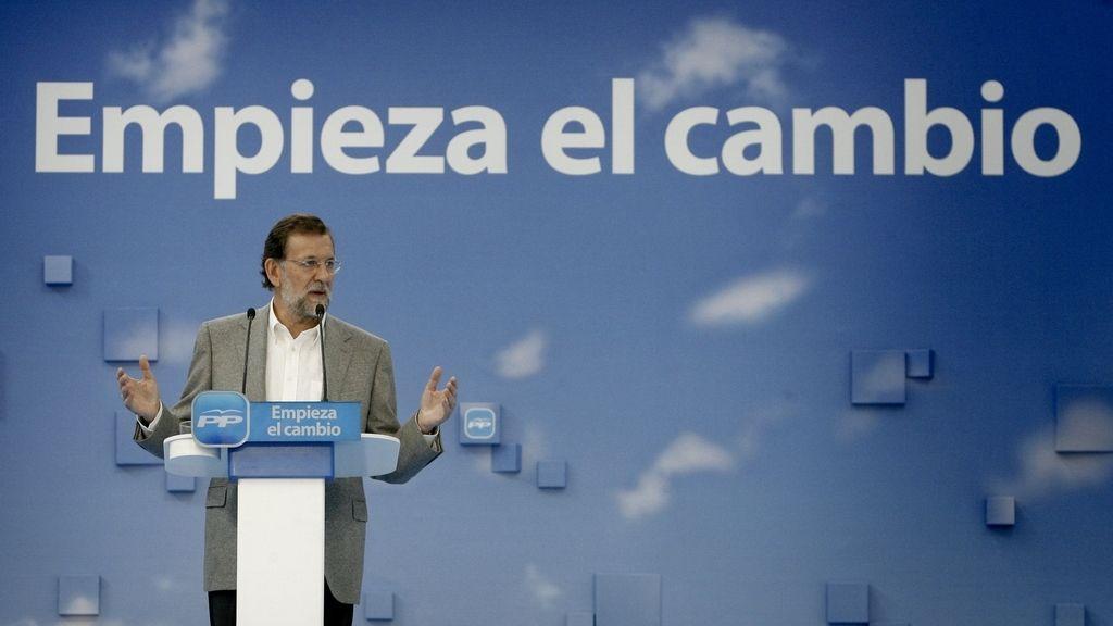 Mariano Rajoy, en un mitin en A Coruña. EFE