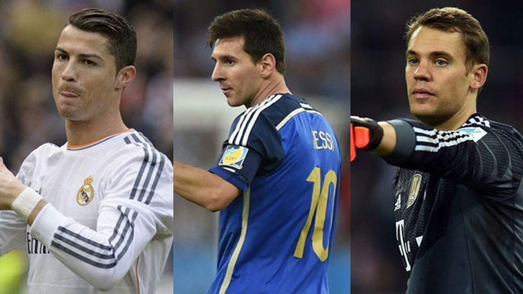 Cristiano Ronaldo, Leo Messi y Manuel Neuer