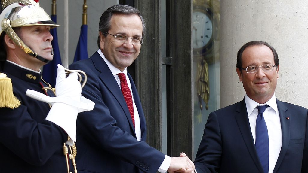 Antonis Samaras, François Hollande, París,