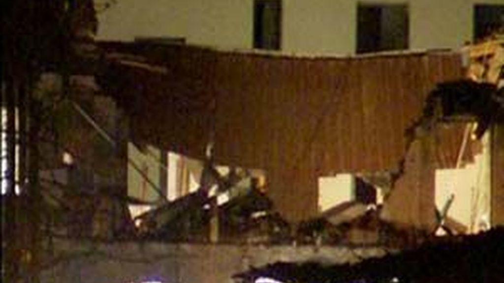 El edificio tras el atentado