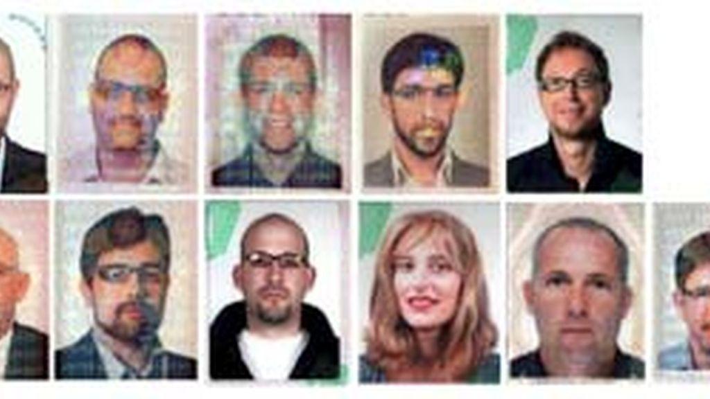Fotografías facilitado por la policía de Dubai que muestran a los 11 sospechosos del asesinato del líder de la organización islamista palestina Hamas Mahmud Al Mabhuh. Foto: EFE